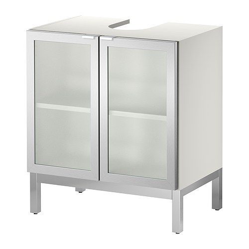LILLÅNGEN Sink base cabinet with 2 door - aluminum  - IKEA--in wood to cover ugly sink pipe