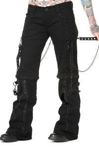 Banned - Gothic Hose mit Schnürungen, Ketten und Zippern - black
