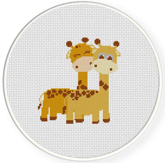 FREE Giraffe Pair Cross Stitch Pattern. Think Baby Wall Art.