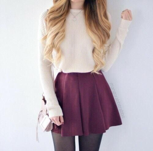White Sweater Knit, Maroon Skirt, Black Stockings, Pink Side Handbag, and a Silver Pendant Necklace