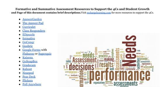 Formative and Summative Assessment Resources to Support the 4Cs and Student Growth 2nd Page of this document contains brief descriptions. Visit rechargelearning.com for more resources to support the 4Cs.   AnswerGarden The Answer Pad Curriculet Class Responders EDpuzzle formative GoConqr Goobric Goo