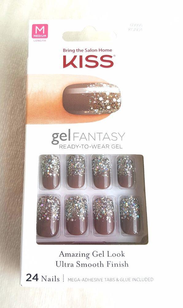 Kiss Gel Fantasy 24 Nails Brown Confetti Glue Press Ons Charmed Life 60666 Kiss Kiss Glue On Nails Stick On Nails Kiss Nails