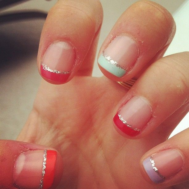 colorful french tip - but do the dark purple for your wedding :)
