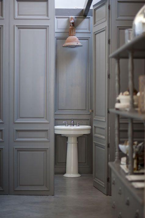 very greige: Bathroom Design, Small Bathroom, Modern Bathroom, Hidden Doors, Interiors Design, Concrete Floors, Grey Bathroom, Powder Rooms, Design Bathroom