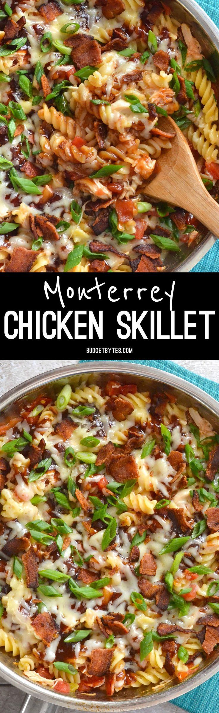 Smoky BBQ sauce, salty bacon, and creamy Monterrey Jack cheese come together in this quick, one-dish Monterrey Chicken Skillet. @budgetbytes