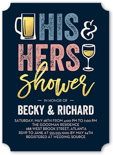 Bridal Shower Invitation: His And Hers Shower, Ticket Corners, Blue