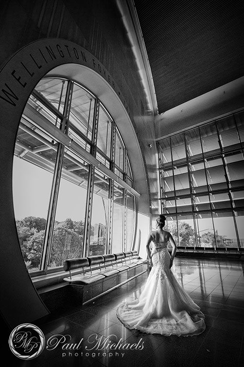 Bride at Te Papa foyer. Wellington #wedding #photography. PaulMichaels photographers www.paulmichaels.co.nz