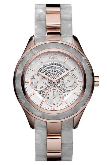 AX Armani Exchange Pavé Dial Bracelet Watch