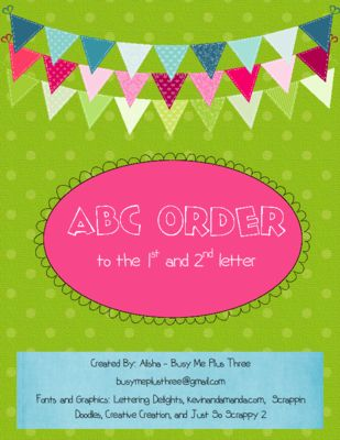 ABC Order To The First And Second Letter Alphabetical Workstations Centers From Busy Me Plus