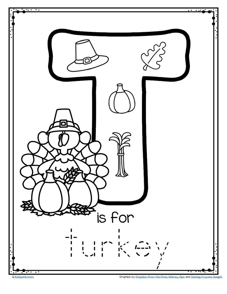 FREE - T is for Turkey trace and color alphabet printables ...