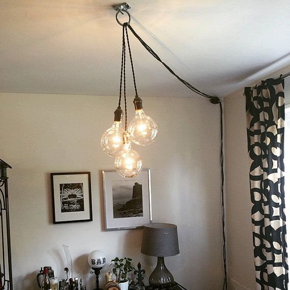 3 Pendant Light Fixture  Each Pendant is 15FT Long and has its own plug for maximum flexibility. INCLUDES 3 outlet power strip with a SWITCH to