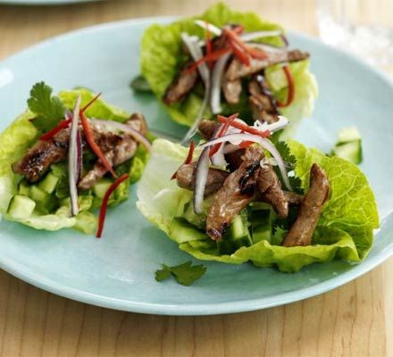 Teriyaki beef & lettuce cups recipe - Recipes - BBC Good Food