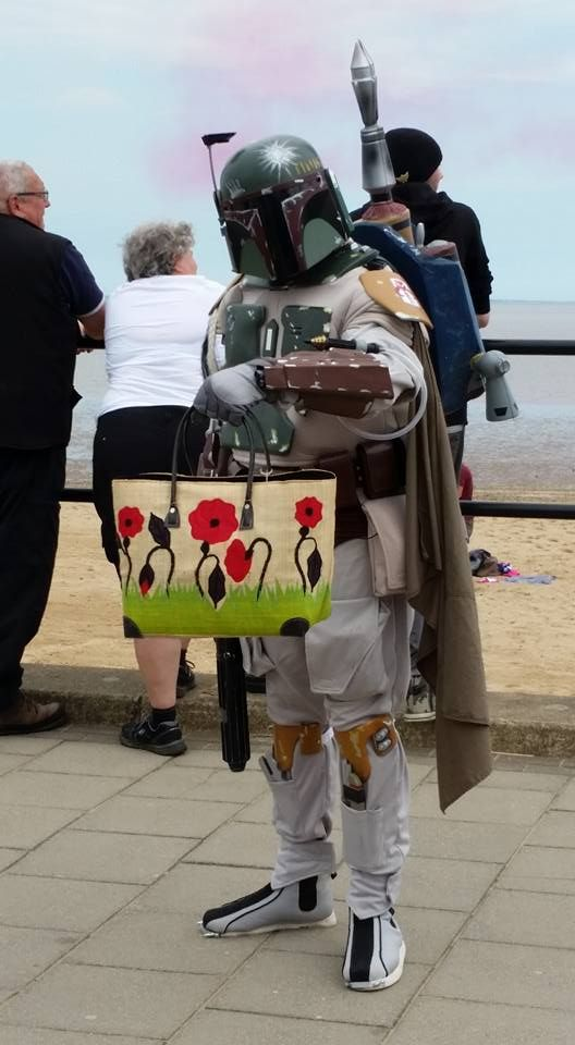 Feeling the Force at Armed Forces Day in Cleethorpes. This Lincolnshire Hero doesn't bother or fret about his choice of handbag.