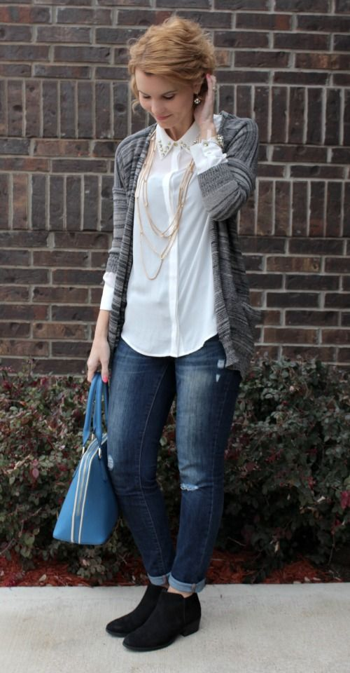 Cute Outfit Idea -- Pair a quarter sleeve cardigan with a long sleeve shirt, skinny jeans and booties. Add some jewelry and the perfect handbag and you have one great outfit. I've been shopping from my closet and coming up with all kinds of outfit ideas. It's fun and my bank account is happy!