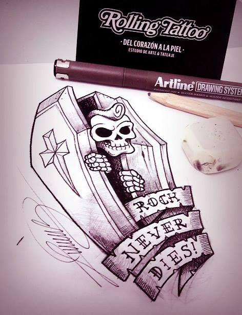 """Vamos a resucitar al Rock... Aún no es definitiva la tipografía de la leyenda ni la cruz de la tapa del ataud... vamos a probar con una estrella o las iniciales RN'R y ya mismo estamos tatuando!   Ilustración realizada por Javier Jiménez, tatuador e ilustrador en Rolling Tattoo Fuengirola   """"Rock Never Dies""""   Illustration for a tattoo made by Javier Jiménez  All Rights Reserved   #RockTattoo #Skull #RockNeverDies #Coffin #Tattoo #Tatuaje #Rock"""