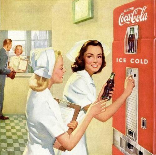 nursing vintage ads | ad, nurses, vintage, art, coca cola, lovely, coke, Pin Up, nurse, old ...