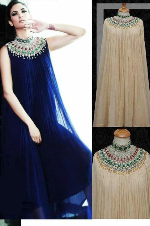 long royal blue with heavy work on neck