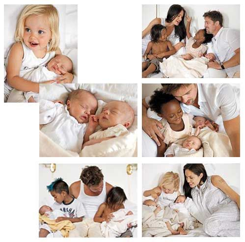 Brad Pitt and Angelina Jolie, Shiloh Jolie-Pitt, Zahara Jolie-Pitt, Pax Jolie-Pitt, Maddox Jolie-Pitt with the new twins Knox and Vivienne
