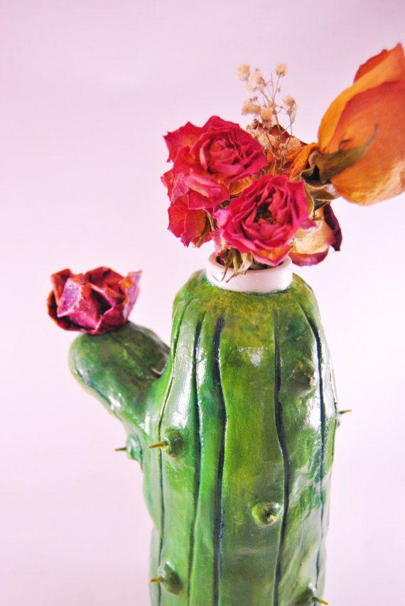 OOAK Cactus vase Succulent vase Flower vase Cactus home