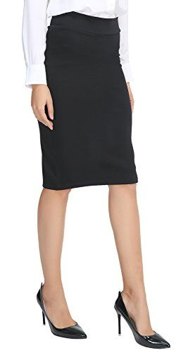Urban CoCo Women's Elastic Waist Stretch Bodycon Midi Pencil Skirt
