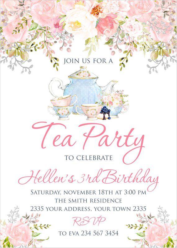 Items Similar To Floral Girl Birthday Tea Party Invitation Shabby Chic Birthday Girl Invite High Tea Tea Party Invitations Tea Party Theme Tea Party Birthday