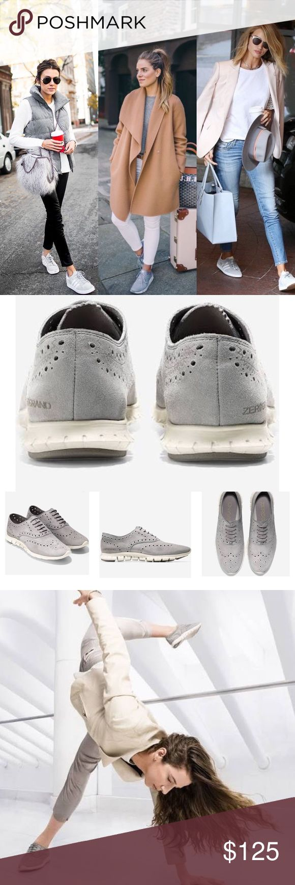 Cole Haan grey wingtip oxford-LIKE NEW From Cole Haan website: Boy meets girl in our best-selling, most sought-after women's ZERØGRAND Oxford styles that perfectly balance masculine and feminine with panache. Crafted from soft suede with laser-cut details, they feature ivory rubber soles with Grand.OS technology that are carefully constructed with a focus on flexibility and reduced weight. These customer favorites are a casual styling game changer.  Cushioned with all new Cole Haan Grand.OS…