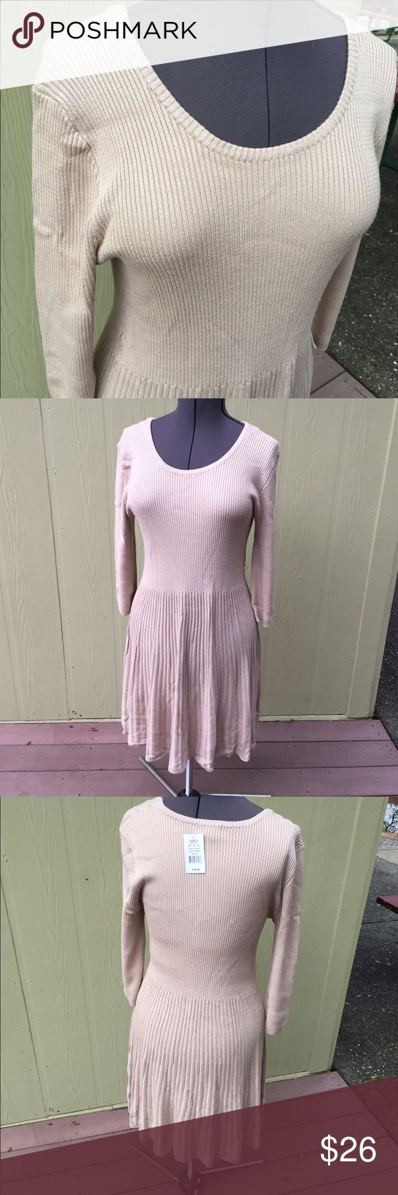 """Tan camel long sleeve scoop neck sweater dress 2X Tan camel long sleeve scoop neck sweater dress, juniors size 2X measures 40"""" bust, 38"""" waist, 20"""" skirt length. 3/4 sleeves measure 20"""". Brand new with tags! Super soft stretch material. Pair with boots and a scarf! Say What? Dresses Long Sleeve"""