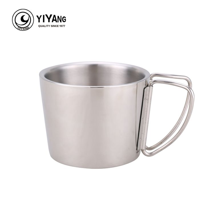 350ml 304 Food Grade Double Wall Stainless Steel Lightweight Camping Mug With Handle Water Beer Coffee Mugs Outdoor Drinkware