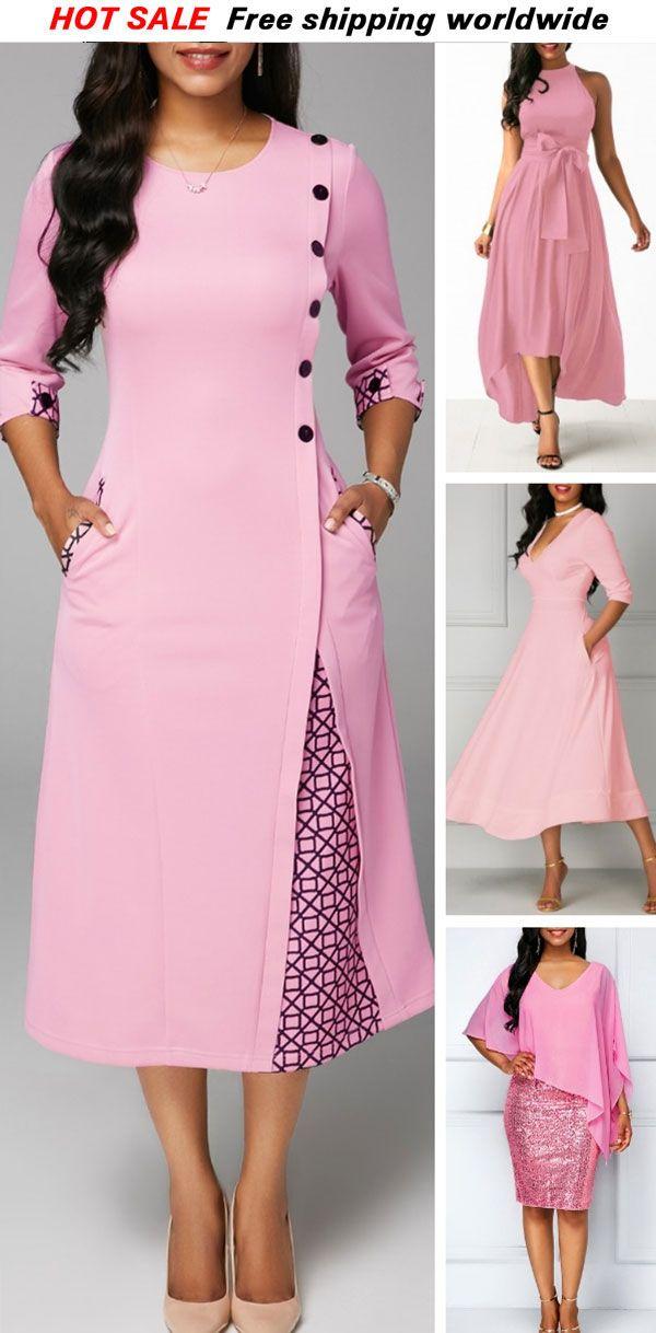 87a5cea47a4 Round Neck Printed Three Quarter Sleeve Dress. rosewe dress pinkdress