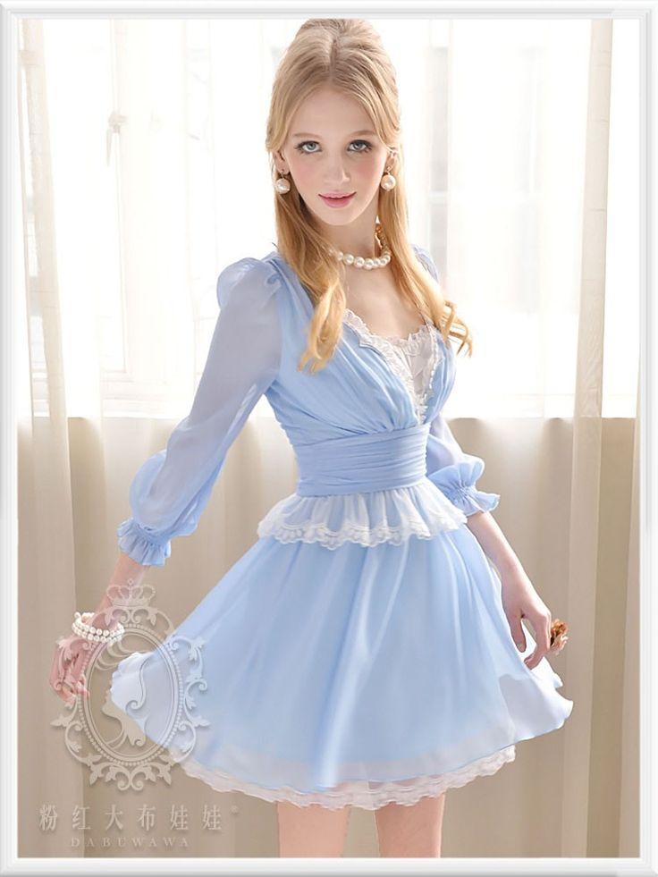 Mango Doll - Blue V-Neck Chiffon Dress, $87.00 (http://www.mangodoll.com/all-items/blue-v-neck-chiffon-dress/)