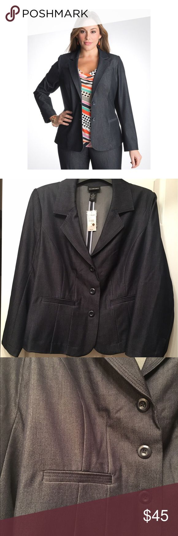 Plus Size Lane Bryant Suit Jacket This 3 button down dark blue jacket is in great condition! New with tags! Dress up or down. Perfect for any occasion. Padded shoulders, 2 slit faux pockets in front and wide lapel. 77% Polyester 20% Rayon 3% Spandex. Lining is 100% Polyester Lane Bryant Jackets & Coats