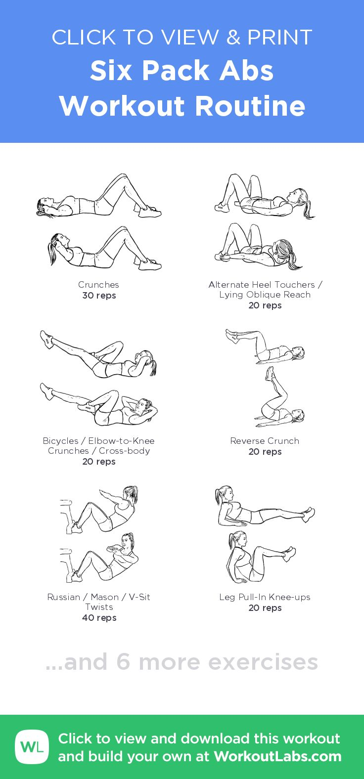 Six Pack Abs Workout Routine – click to view and print this illustrated exercise plan created with #WorkoutLabsFit