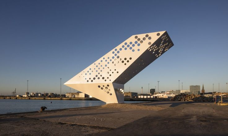Accessible sail-shaped viewing tower hovers over the edge of Denmark's Aarhus…