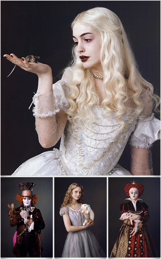 The entire cast of Tim Burton's film is absolutely fabulous. Pictured here.....Anne Hathaway as the White Queen, Johnny Depp as the Mad Hatter, Mia Wasikowska as Alice, and Helena Bodham Carter as the Red Queen