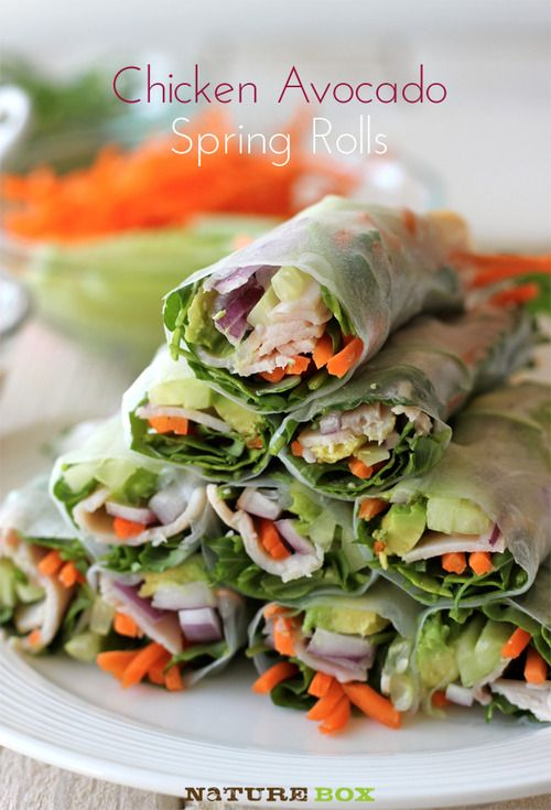CHICKEN AVOCADO SPRING ROLLS:  12 rice paper wrappers 1 cup arugula 1 cucumber, julienned 1 carrot, peeled and julienned 8 ounces deli-style chicken or turkey breast, thinly sliced 1/2 red onion, thinly sliced 1 avocado, halved, seeded, peeled and thinly sliced