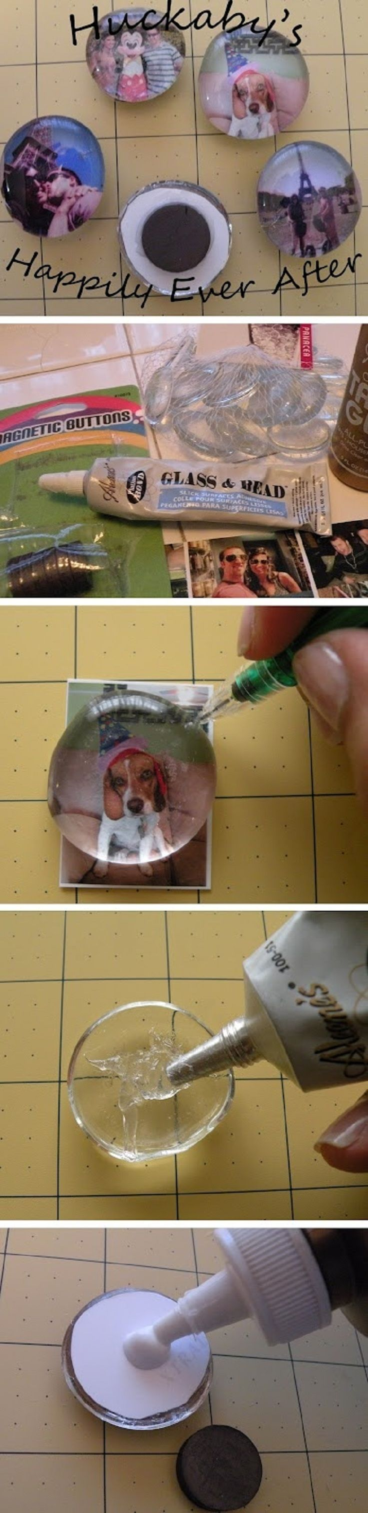 DIY Photo Magnets from Glass Gems or Marbles...also cute with scrapbook paper for decorative magnets!