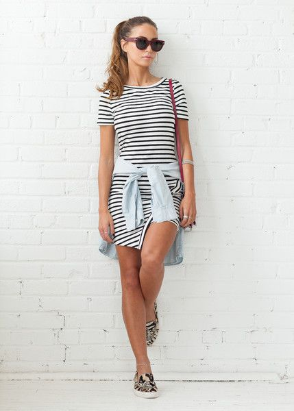 COVETED LOOK - Central Park   Featured: Parker Stripe Asymmetrical Dress www.covetedbasics.com