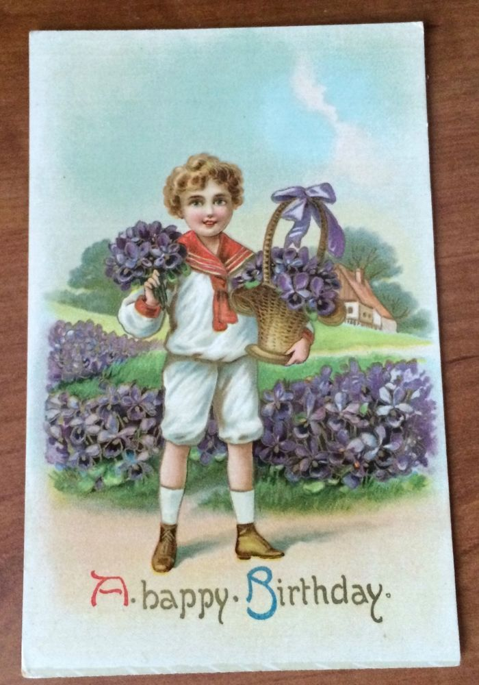 Vintage Happy Birthday Card Boy With Violets Unposted Made in Saxony  | eBay
