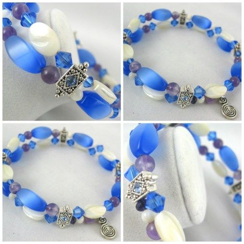Blue Cat's eye and Mother of Pearl Memory wire bangle bracelet