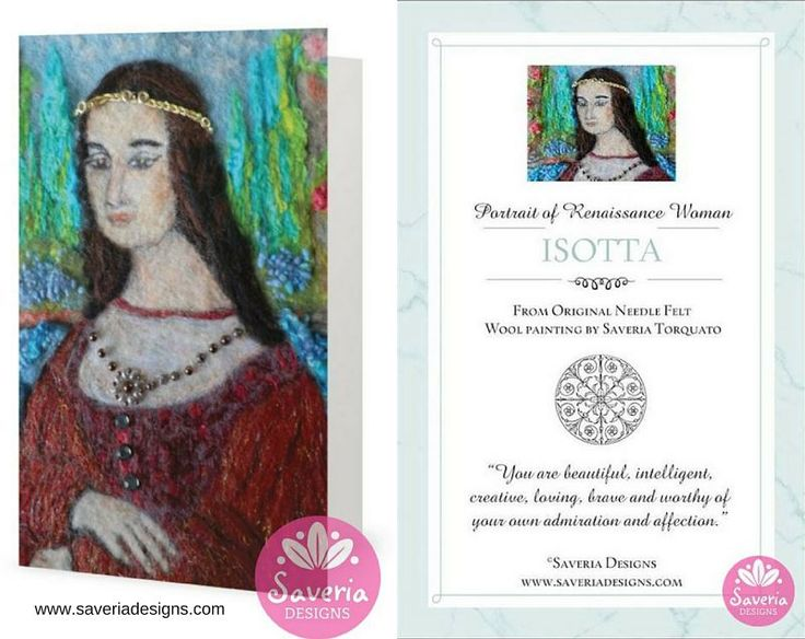 Isotta Renaissance Card with Inspirational Quote Insert by Saveria Designs