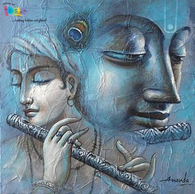 Acrylic canvas painting is a captivating and pleasing art. Here I have given the occurrence of  alluring Krishna Painting associate acrylic on canvas. A vast range of  Krishna paintings and Indian Religion paintings are available on Indianartideas.