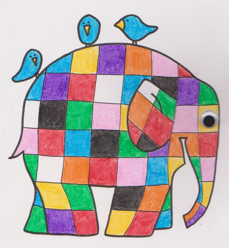 Elmer the Patchwork Elephant coloring page & Color by Numbers