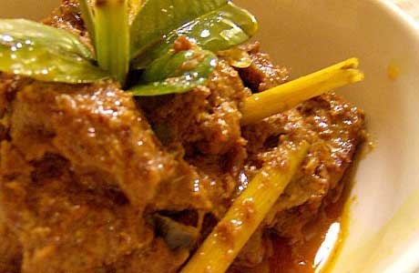 Rendang is an original traditional food from West Sumatra. It is a meaty, spicy, curry and gingery dish. It was served at ceremonial occasions and to honored guests, but now commonly it served across the country.