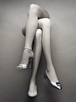 it seems almost normal......... three for two: remarkable   we have mannequin legs similiar to this like this at www.MannequinMadn.... We have crossed hosiery legs and single legs that you can combine to make this display.