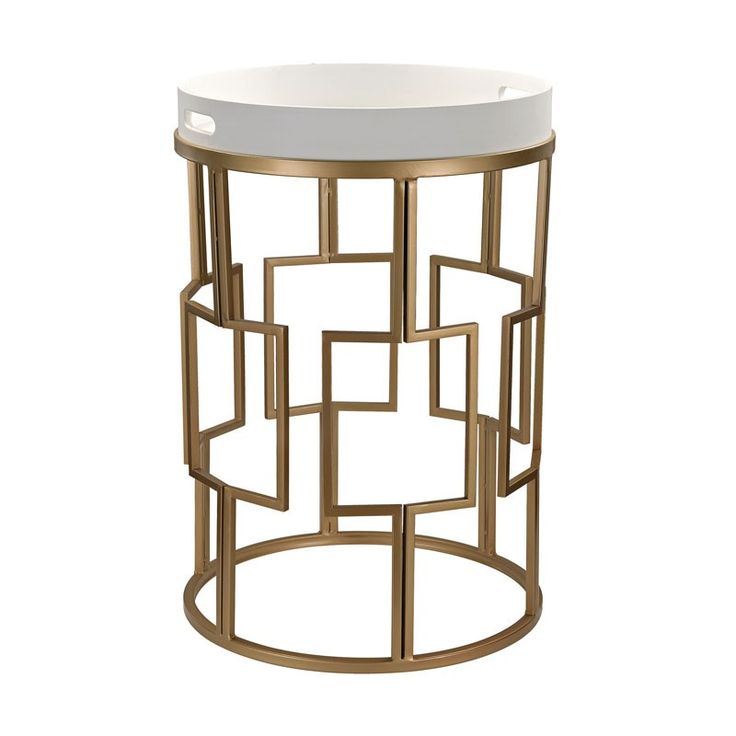 Gold & White Accent Table by Lazy Susan  Finish: Gloss White, Gold