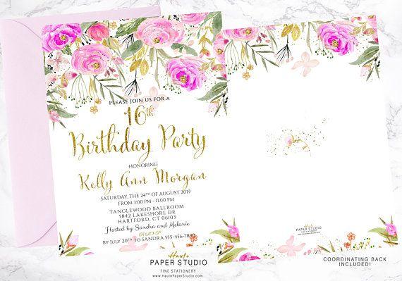 Sweet 16 Invitation 16th Birthday Custom Invitation Pink Birthday Invite Sweet 16 Invite Quinceanera 21st Birthday 50th Birthday BDS004
