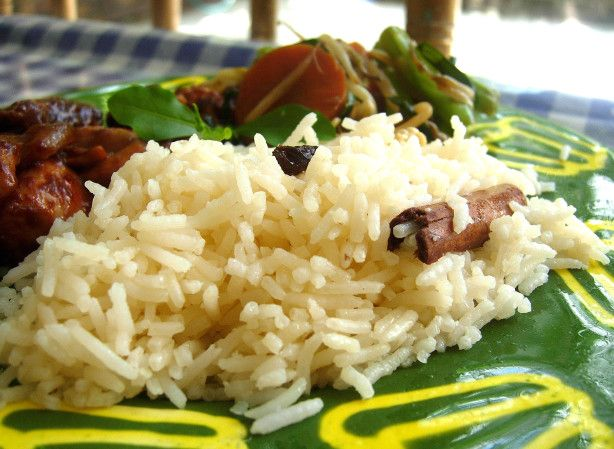 This rice is Indian inspired and so the recipe calls for traditional basmati, but Texmati rice will give much the same effect, and in fact any white rice is good made this way. Substitute almonds for the cashews if you prefer.