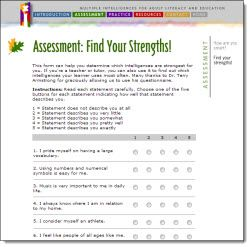 Link to free online Multiple Intelligence Assessment as well as other resources for teaching MI theory
