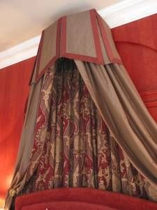 another pretty crown canopy and upholstered headboard - Maroon Canopy Design