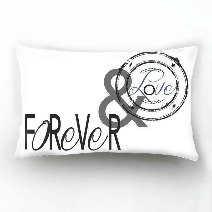 Valentine's Day, Gift, Forever Love, Romantic, Black&White Decorative Pillow Cover